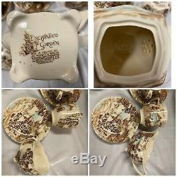 Vintage Johnson Brothers Angleterre Brown & White Enchanted Garden Set Café