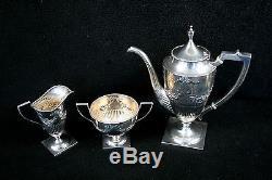 Vintage Lebkuecher Sterling Silver Coffee / Tea Set Rare Listé Seulement 1896-1909