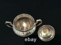 Vintage Lehman Brothers Ny C. 1930 Argent Sur Cuivre 7 Piece Tea Coffee Set Withtray