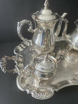 Vintage Leonard Silver Company 5 Piece Coffee Or Tea Service Set Plaque D'argent