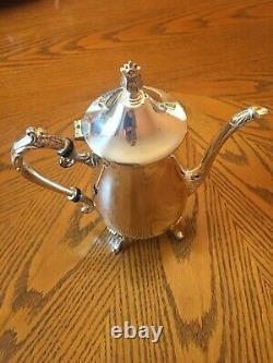 Vintage Leonard Silver Company 5 Pièces De Café Et De Thé Service Set Assiette En Argent