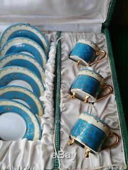 Vintage Limoges France Café Set 6 Tasses + 6 Soucoupes Boxed