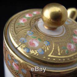 Vintage Limoges France Ensemble De Café Expresso Gold Painted Edge Roses Roses 7 Pièces