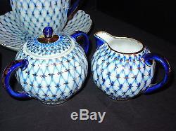 Vintage Lomonosov Ussr Cobalt Blue Net Ensemble De Thé À Café En Porcelaine De 22 Pièces