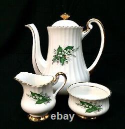 Vintage Lubern Bone Chine Café / Ensemble De Thé / Lily Of The Valley 22k Or Antique