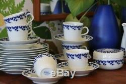 Vintage MCM Rörstrand Suédois Carl Bleu Stålhane Coffee Set + Bowl + Pot À Lait