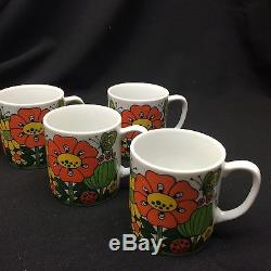 Vintage MID Century Coffee Set 11pc Stand Pot Mugs Chine Flower Garden Nouveau