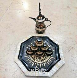 Vintage Main Palestinienne Gravé Laiton Nacre Café Set Bethlehem