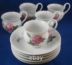 Vintage Meissen Porcelaine Rose Rose Chocolat / Café Ensemble Porzellan Service