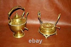 Vintage Mexican Brass 7-pc Coffee & Tea Set Avec Bouilloire, Pots, Crème Et Sucre, Plateau