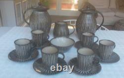 Vintage Michael Leach Yelland Potterie 6 Personnes Cafetière Avec Deux Cafetières