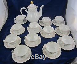 Vintage Mitterteich Lady Beatrice Céramique Coffee Pot Cups & Saucers Ensemble Allemand