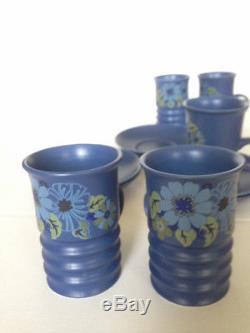 Vintage Mod Carlton Ware Blue Coffee / Tea Ensemble De 13 Pièces C. 1960's Rare & Beautiful