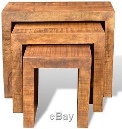 Vintage Nest Of 3 Tables Ensemble De Bois De Mangue Café Salon D'agneau En Bois Salon