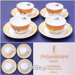 Vintage New Yves Saint Laurent Service À Café Avec Thé En Porcelaine Peinte À La Main Ysl Vaisselle