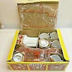 Vintage Nippon Cafeter Pot Cup Set Avec Support En Fil Métallique Retro Kitsch Decor