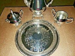 Vintage Oneida Silver Plaque 4 Pièces Café / Tea Service Set