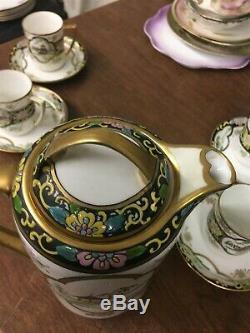 Vintage Peint À La Main Nippon Coffee Pot Set Avec 4 Coupes & Saucers