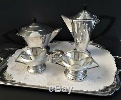 Vintage Plate Art Déco Argent (epns) Thé Et Café Set 4 Pièces