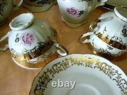 Vintage Porcelaine À La Main Meissen Rose Coffee Tea Home 9 Set Made In Germany