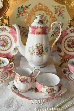 Vintage Porcelaine Royal Albert Lady Carlyle Coffee Set Bone China England For 2