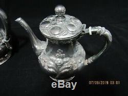 Vintage Quadruple Wilcox Silverplate Co Repousse 5 Pièce Thé / Café Set