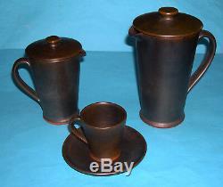 Vintage Rainham (upchurch) Studio De Poterie 1970 Coffee Set 15 Piece Plus Couvercles