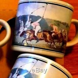 Vintage Ralph Lauren Pays Polo Tasse De Café Set 1987 Équestre Japon Animaux Morts