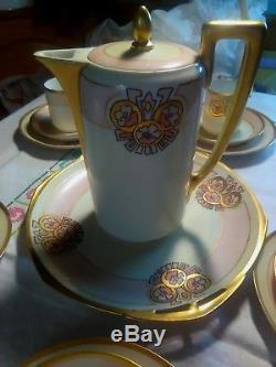 Vintage Rare Rosenthal Delb Bavière Isolde 8 Pièces Café / Thé Ivoire / Pnk / Gold