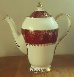 Vintage Red&gold Collingwood Bone China Coffee Set Est 1796 Marble Arch Londres