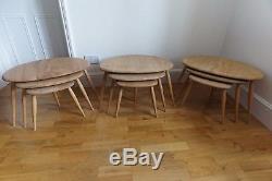 Vintage Retro MID Siècle Ercol Pebble Nest De Tables À Café Set 1