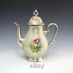 Vintage Rosenthal Peint À La Main Chippendale Silver Overlay Coffee Pot Teacup Set
