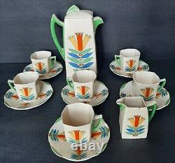 Vintage Royal Doulton Années 1930 Demitasse Coffee Set Porcelaine Mecque 5103 Art Déco