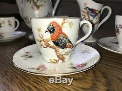 Vintage Royal Doulton Oiseaux Partie H1422 Café Ensemble Vers 1920