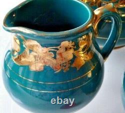 Vintage Sadler Coffee Tea Porcelain Set Turquoise Gold Glaçure 6 Pièces