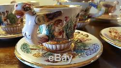 Vintage, Set De Café R. Capodimonte E & B Avec Bol À Sucre. Rare Des Années 1920-1930