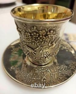 Vintage Set Tasse De Café Saucer Soviet Urss Gilt Sterling Argent 875 Signé