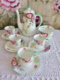Vintage Shelley Coffee Set Wild Rose Floral Rose Canterbury 1932 Forme
