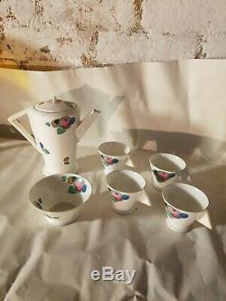 Vintage Shelley Fine Chone Art Deco Ensemble À Café 4 Tasses & Bol Blanc