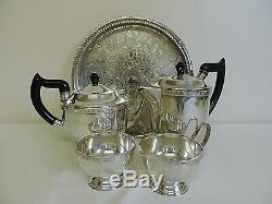 Vintage Silver Tea & Coffee Set Sur Le Plateau Viners Silver Plate Art Nouvea C. 1910