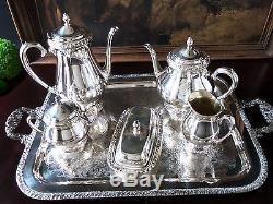 Vintage Silverplate Tea Coffee Set Set Sugar Creamer Beurre Et Plateau Communauté
