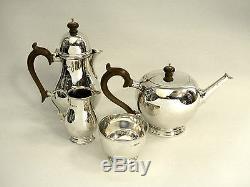 Vintage Solid Silver Ensemble De Thé / Set De Thé 4 Pièces London 1936/9 Théière À Base De Lait