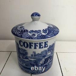 Vintage Spode Blue & White'blue Italian' Teacafeecanisters Sugar, Set De Jars