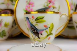Vintage Spode Bone Chine Angleterre Peint À La Main English Garden Birds Coffee Set