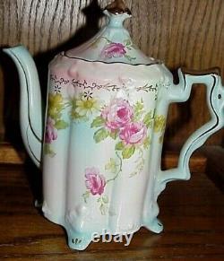 Vintage Style Antique 19 Pc. Jeu De Café En Porcelaine Rose Roses Roses Roses