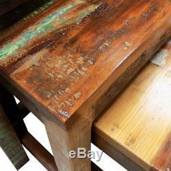 Vintage Tables Gigognes Ensemble Rétro Café Fait Main Solide En Bois De Récupération