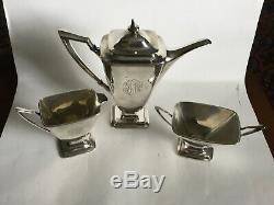 Vintage Towle Mary Chilton Sterling Demi Tea Set Café De Trois C1920s Vendu B