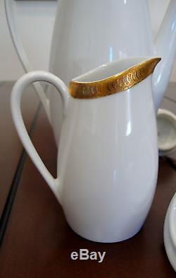 Vintage Verbano Industria Ensemble De Café En Porcelaine En Argentine 19 Pièces En Or