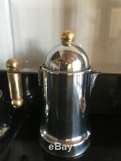 Vintage Vev Vigano Italienne En Acier Inoxydable Kontessa Oro Espresso Set Café