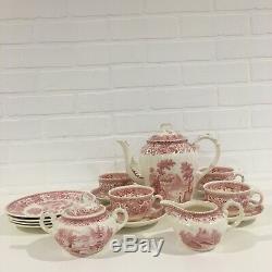 Vintage Villeroy & Boch Burgenland Saar Bordeaux Blanc Tea Set Café Pour 4